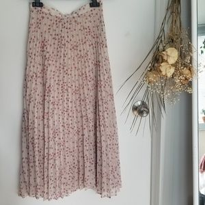 NWOT Reformation Floral Pleated Midi Skirt, 0/XS